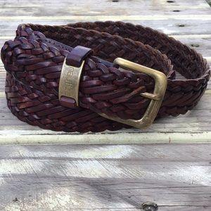 Nautica Braided Leather Belt Dark Brown L 36/90